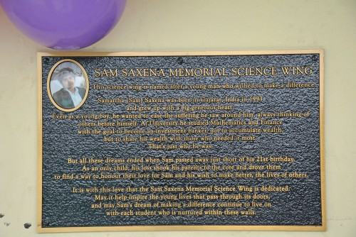 A small plaque to share Sam's story.