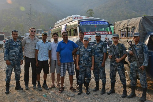 Police escort through Nepal.