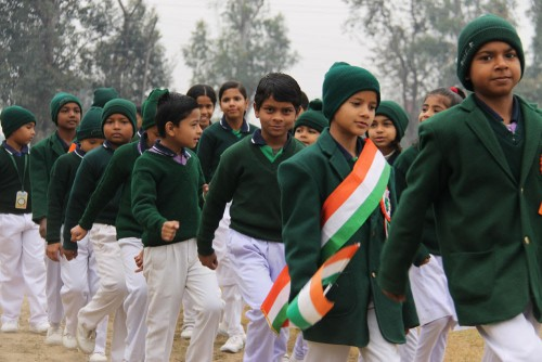 Students on the march during our Republic Day observance.
