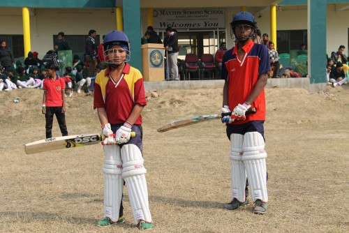 Some intense cricketers ready for a match