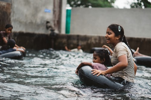 Debbie and Saloni, floating and loving it.