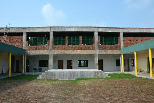 The school extension. The new stage can be seen at the front.