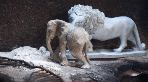 Small elephant: $50. Large lion: $125. Minimum donations.