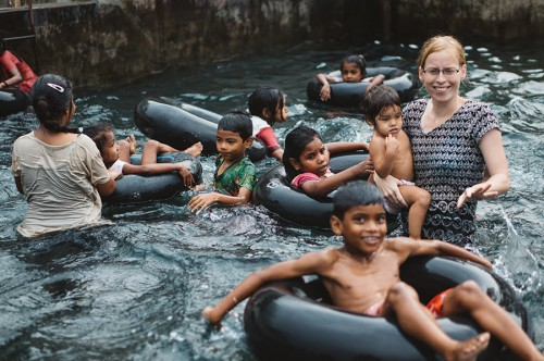 Katie, leading her little nursery pack in a game of bumper boats.